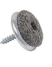 SBS viltdoppen met schroef | ø 18 mm | 100 stuks | ijzer vernikkeld meubel-glijders
