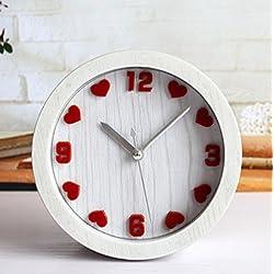 ZHXUANXUAN European Retro Idyllic Fashion Creative Heart-shaped Small Alarm Clock Table Children Bedroom Clock,Red
