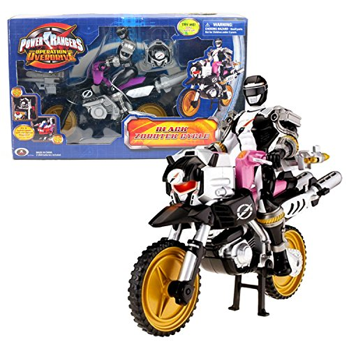 Power Rangers Toy Operation Overdrive (Bandai Year 2007 Power Rangers Operation Overdrive Series 8 Inch Long Action Figure Vehicle - BLACK ZORDTEK CYCLE with Black Power Ranger and Light-Up Zord Head)