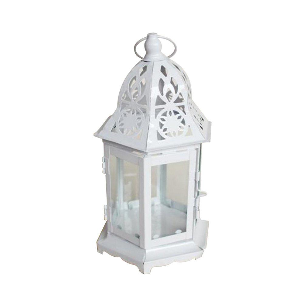 Skyeye Métal Photophore Birdcage-Shape lanternes Mariage Maison Décoration de Table Blanc (25.5* 13.5cm)