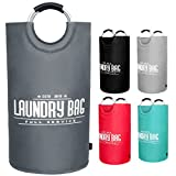 YOUYOUTE Large Laundry Basket, Oxford Fabric Collapsible Laundry Hamper, Foldable College Laundry Bags,Waterproof Portable Storage Bag with Carry Aluminium Handles for Dirty Clothes, Toys (Dark Gray)