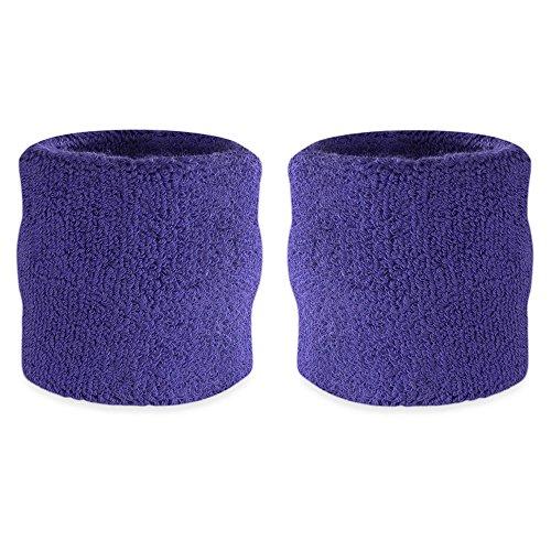 Suddora Wrist Sweatbands - Athletic Cotton Terry Cloth Wrist Bands for Basketball, Tennis, Football, Baseball (Pair) -