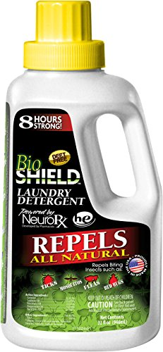 (BIO SHIELD By Portland Outdoors Laundry Detergent All Natural DEET-FREE 8-Hour Tick, Flea, Bed Bugs and Mosquito Repellent, 32oz)