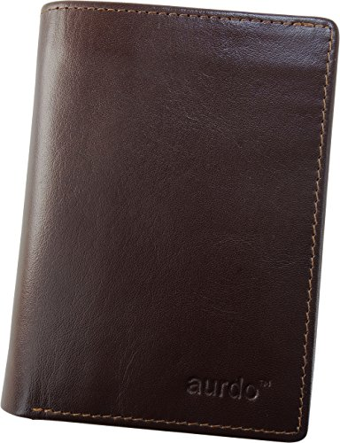 Chocolate Mens Wallets - AurDo Men's RFID Blocking Extra Capacity Multi Card Trifold Wallet With ID Window (Vegetable Tanned Chocolate)