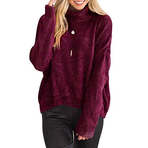 KLFGJ Women Casual Pullover Irregular Streetwear Pure Color Long Sleeve Tops Turtleneck Winter Knitted Blouse ()