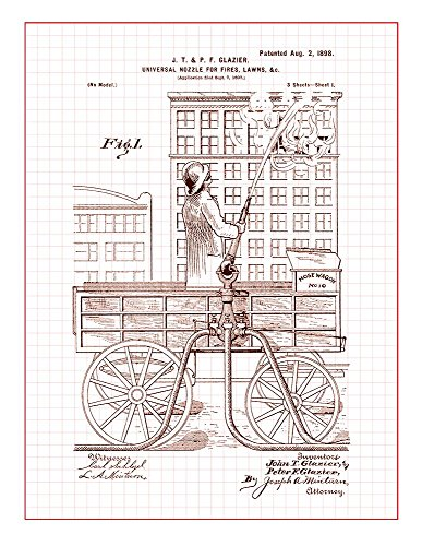 Universal Nozzle For Fire Patent Print Art Poster Red Grid