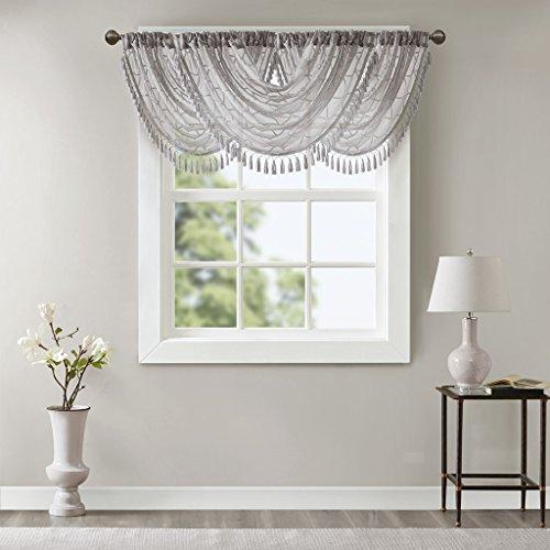 Irina Diamond Sheer Embroidered Ascot Grey Window Valance , Elegant Pattern Rod Pocket Valances for Windows , 38