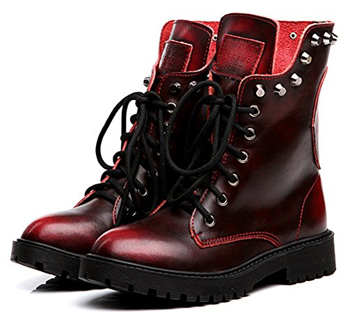 IDIFU Women's Vintage Studded Chunky Lace Up Short Boots Ankle Martin Booties Low Heels