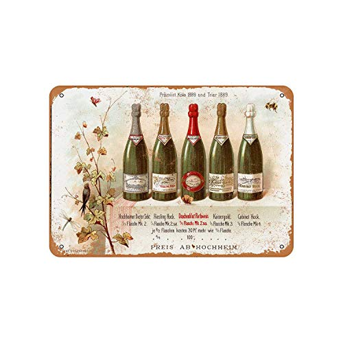 - Fhdang Decor Vintage Pattern 1890 German Riesling Wine Vintage Look Metal Sign Aluminum Sign,6x9 Inches