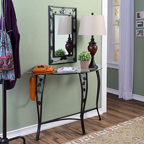 Entryway Table and Mirror Set Console Hall Decor Furniture Includes a Tempered Glasstop with Black Metal Finish Scroll Leaf Trim Design (Black Mirror Entryway)