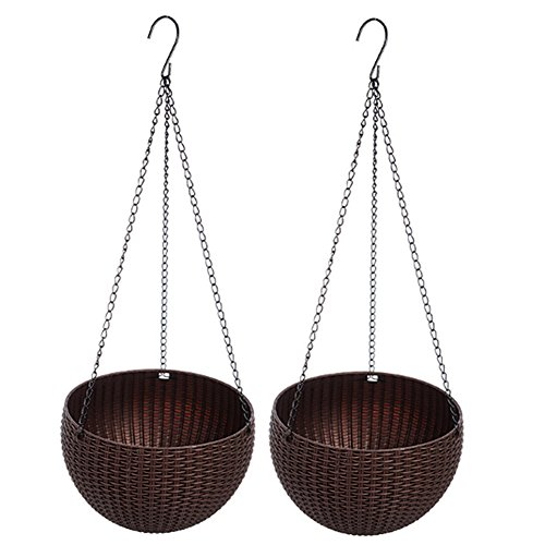 QEESTARS 2 pcs Round Plastic Resin Chain Basket Hanging Planter Hanging Flowers and Plants,Growers Hanging Planter Decor Pot with Watering Can ()