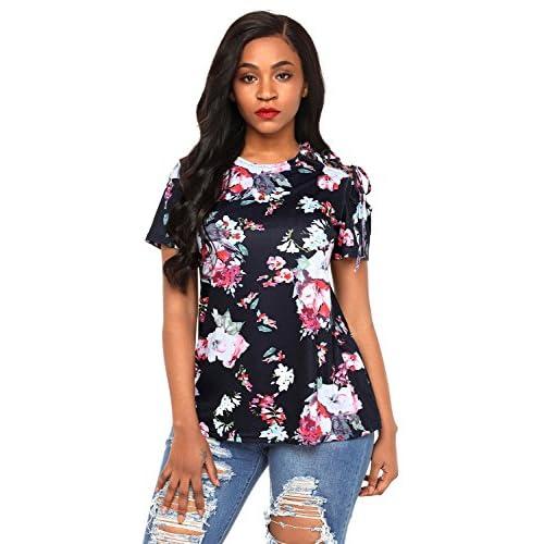 29afeb73ef64 outlet Nuevo Negro floral Top con encaje hombro blusa de para fiesta ...