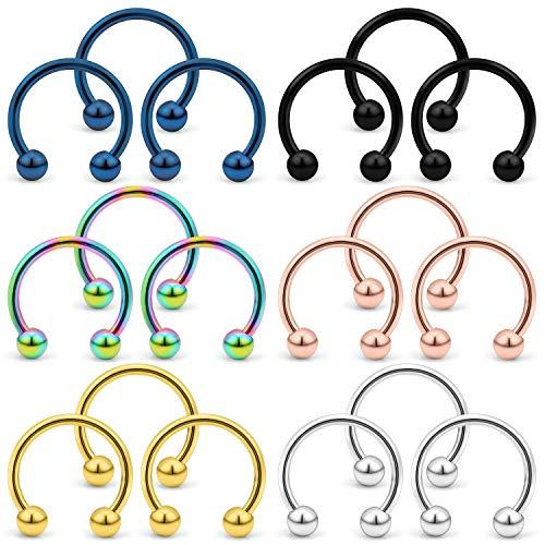 (Yaalozei 18PCS 16G 8mm Stainless Steel Horseshoe Nose Hoop Rings Eyebrow Cartilage Helix Hook Earring Septum Ring Piercing Jewelry for Men Women Mix Color)