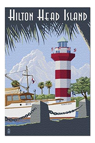 - Hilton Head Island, South Carolina - Harbour Town Lighthouse (20x30 Premium 1000 Piece Jigsaw Puzzle, Made in USA!)