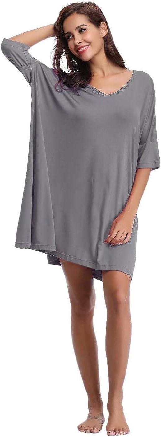 Vestito Donna per Casa Pigiama Cotone da Donna Scollo a V Manica Corta con Pulsante Aiboria Camicia da Notte Donna Estivo