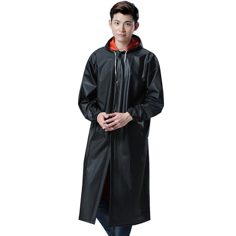 XING-ZI-raincoat C-K-P Regenmantel Männer Long Adult Outdoor Klettern Reisen Wasserdichte Kleidung Schwarz (für Höhe 160-185 cm)