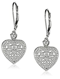 Sterling Silver Vintage Heart Design with Diamond (1/10cttw, I-J Color, I2-I3 Clarity) Accent Dangle Earrings
