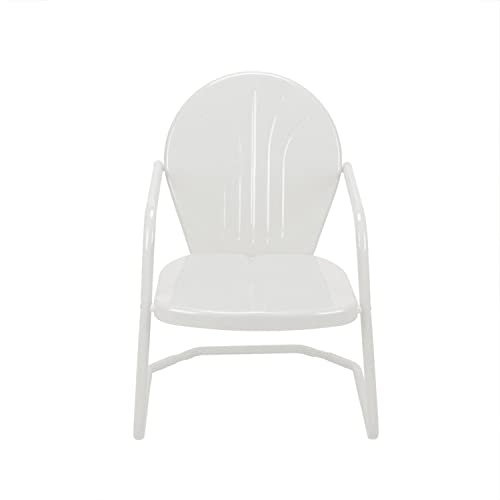 LB International 34 White Retro Metal Outdoor Tulip Chair