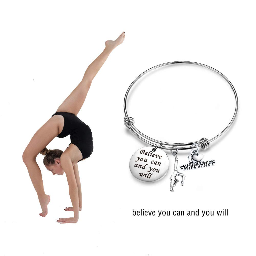 AKTAP Gymnastics Bracelet Gymnastic Jewelry Believe You Can and You Will Gymnastics Gifts for Girls