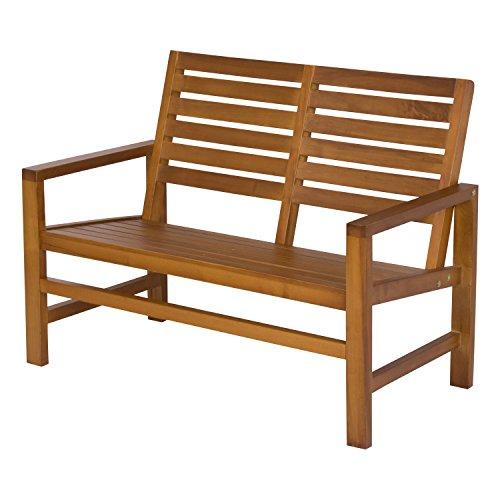 """Shine Company 4224OA Contemporary Garden Outdoor Bench, 40"""", Oak"""