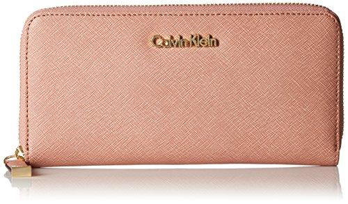 Calvin Klein Saffiano Zip Continental Wallet, Deep Blush, One Size by Calvin Klein