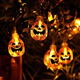 HOPESOOKY 3D Jack-O-Lantern Halloween Decoration Lights,30LED 11Ft Battery Operated Pumpkin String Lights Halloween Light Outdoor Warm White
