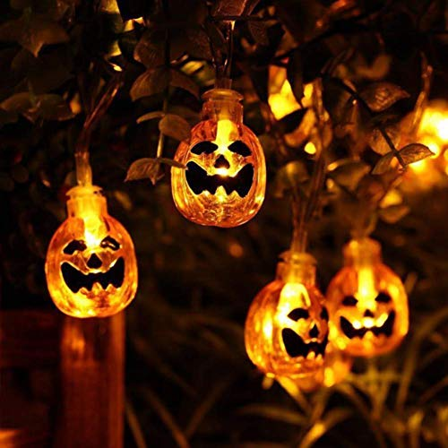 KUAHAIHINTERAL 3D Jack-O-Lantern Halloween Decoration Lights?30LED 11Ft Battery Operated Pumpkin String Lights Halloween Light Outdoor Warm White
