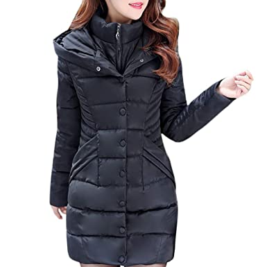 BOOMJIU Women Hooded Parka Outwear Lady Warm Coat Long Thick Cotton Padded Slim Jacket Button Outwear