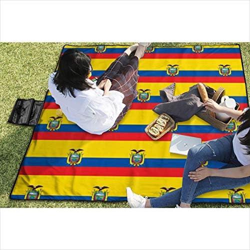 GuyIvan Ecuador Flag Pattern Picnic Blanket Stuoia da Picnic Coperta da Picnic Tote Handy Camping Beach Escursionismo Mat 145X150cm