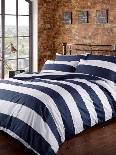 Louisiana horizontale Navy & weiß gestreifte Bettwäsche Blau, 100% Baumwolle, Fadenzahl 200,-(Super-King-Size-Betten, Bettbezug und 2 Kissenbezüge))
