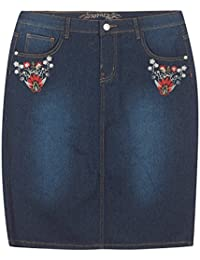 Plus Size Floral Embroidered Denim Skirt