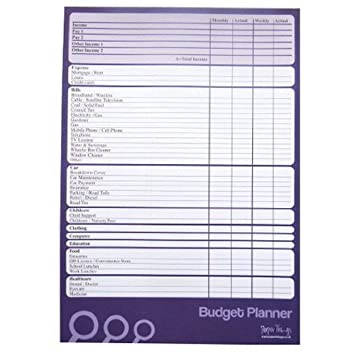 A4 - Budget / Finance / Money Planner (Large) - 50 Sheets Per Pad ...