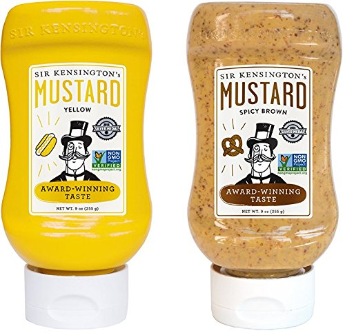 Sir Kensington's Mustard Squeeze Sampler- Yellow & Spicy Brown 9oz, Pack of 2
