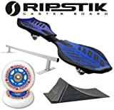 Razor Ripstik BLUE Caster Board Skate Board w/ Deluxe Accessory Kit (Punk Rail & Ramp)