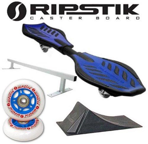 Razor Ripstik BLUE Caster Board Skate Board w/ Deluxe Accessory Kit (Punk Rail & Ramp) (Razor Punk Skateboard Rail)