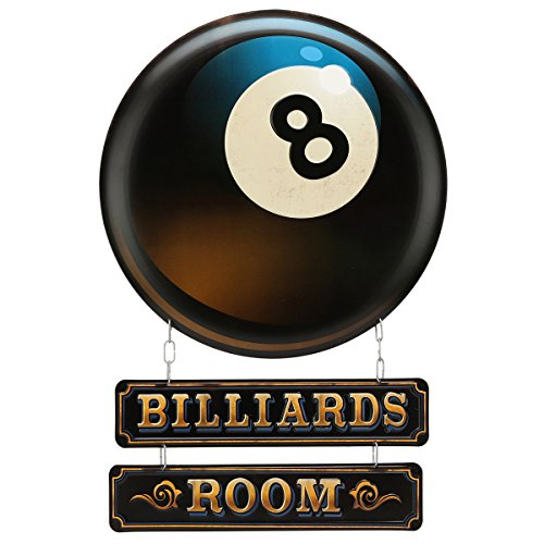 Open Road Brands Vintage Retro Metal Tin Signs - Game Room Signs (Billiards Room) - Great for Gamerooms, Man Caves, Wall Art, Home Decor and Much More ()
