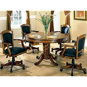 3 In 1 Oak Finished Wood Poker Pool Game Dining Table