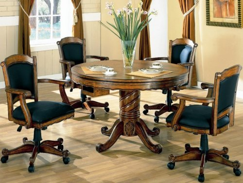3-in-1 Oak Finished Wood Poker, Pool, Game, Dining Table and 4 Chairs Set For Sale