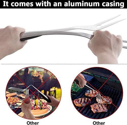 BBQ Set Barbecue à Griller,Ensemble d'outils ustensiles pour Barbecue en Acier Inoxydable 11pcs Accessoires pour Barbecue avec étui en Aluminium pour Voyages de Camping