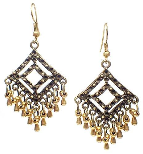 Bijoux De Ja Bronze and Brass Beads Moroccan Style Drop Dangling Earrings (Square)