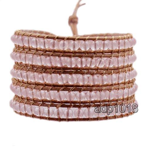 (Hot Hand Made Natural Gemstones Beads Genuine Leather Wrap Bracelet (5 Wraps, Rose Quartz))