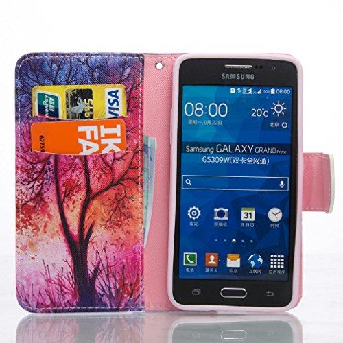 Funda Samsung Galaxy Grand Prime G530 OuDu Funda PU Cuero de Cartera para Samsung Galaxy Grand Prime G530 Carcasa Protectora Caso Suave Funda Blando Flip Wallet Case Cover Bumper Folio Holster Carcasa Árbol Ardiente