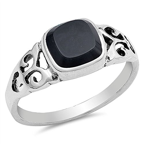 (Simulated Black Onyx Fleur De Lis Filigree Ring New .925 Sterling Silver Band Size 6)