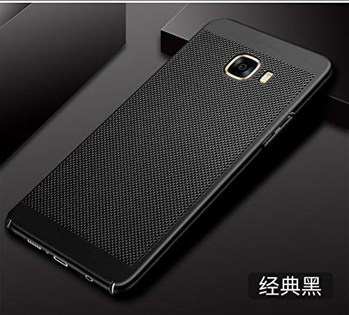 Funda Samsung Galaxy C5 Pro,Alta Calidad Ultra Slim Anti-Rasguño y Resistente Huellas Dactilares Totalmente Protectora Caso de Plástico Duro Case,Cuadrícula Disipación de calor Antideslizante Cover A