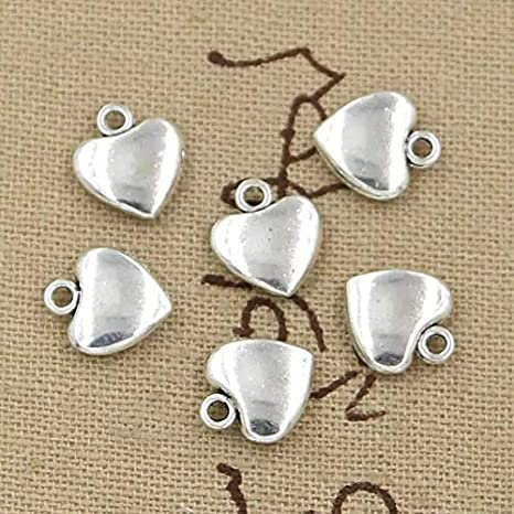 Heart Charm//Pendant 304 Stainless Steel Silver 10 x 11mm  10 Charms Accessory