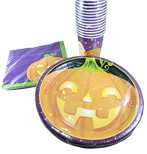 Halloween Decorations Pumpkin Paper Plates Cups Napkins 50-Piece Set]()
