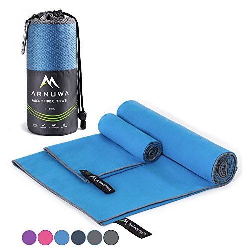 Arnuwa Microfiber Camping Towel Quick Dry Ultra Absorbent Compact Antibacterial, Blue XL