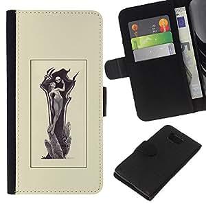 YiPhone /// Tirón de la caja Cartera de cuero con ranuras para tarjetas - Grim Reamper Mujer - Samsung ALPHA G850