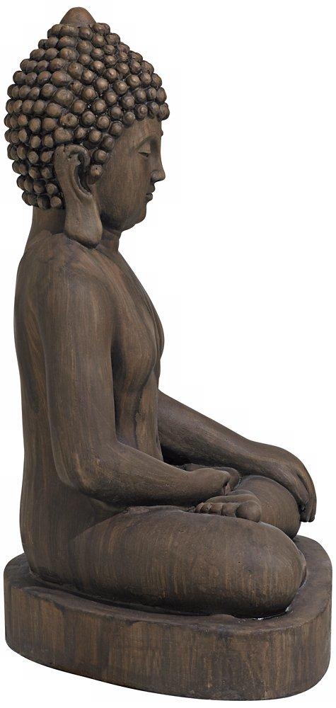 """Sitting Buddha 29 1/2"""" High Dark Sandstone Outdoor Statue"""