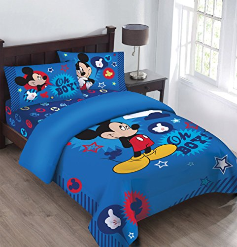 Disney Mickey Oh Boy! Gosh Licensed Twin Comforter Set Set w/Fitted Sheet (Kids Sets Comforter)
